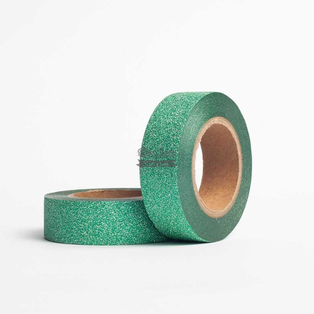Fita Scrapbook Washi Tape Glitter Verde 10m - Scrap Lovely