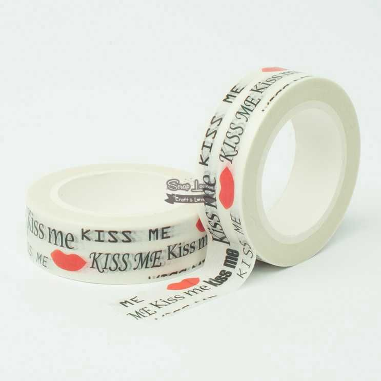 Fita Scrapbook Washi Tape Kisses 10m - Scrap Lovely