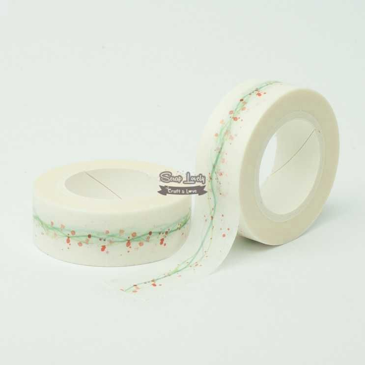 Fita Scrapbook Washi Tape Linhas Verde e Respingos 10m - Scrap Lovely