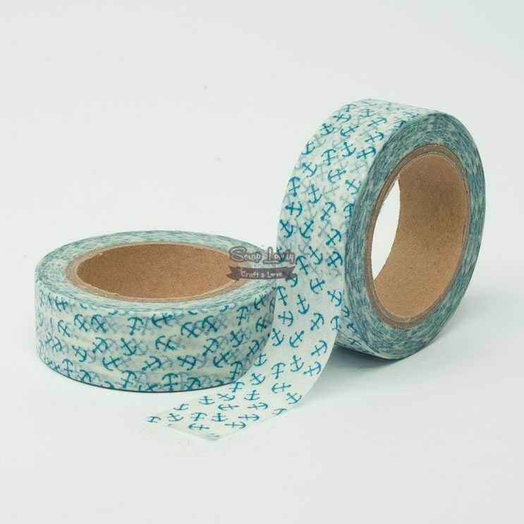 Fita Scrapbook Washi Tape Mini Âncora Azul 10m - Scrap Lovely