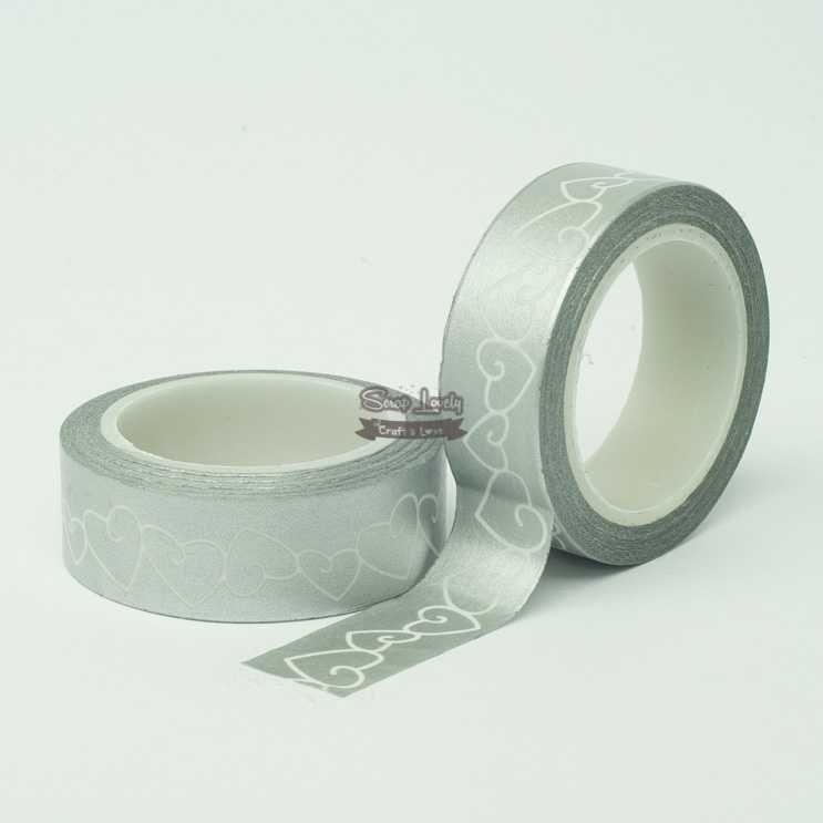 Fita Scrapbook Washi Tape Prata com Coração Branco 10m - Scrap Lovely