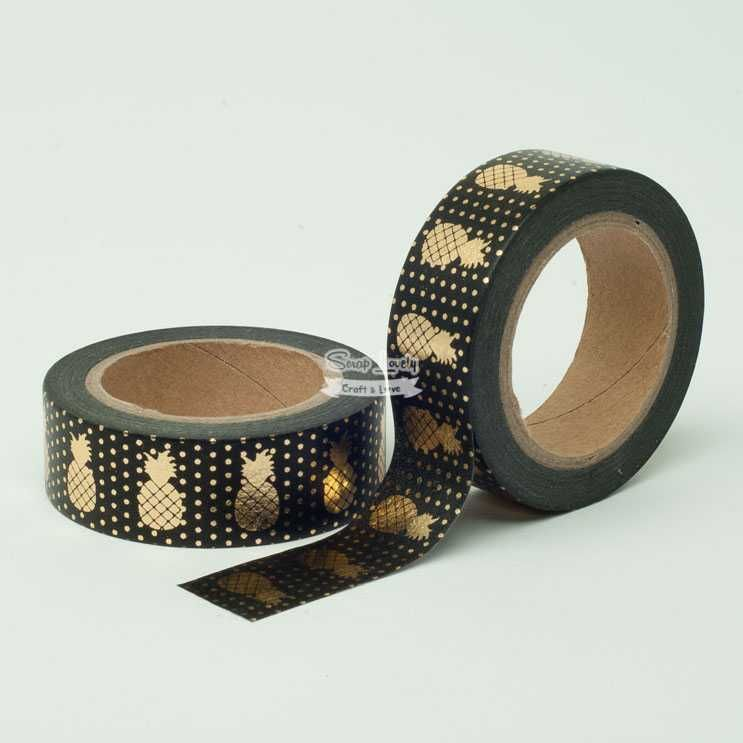 Fita Scrapbook Washi Tape Preto Foil Abacaxi Dourado 10m - Scrap Lovely