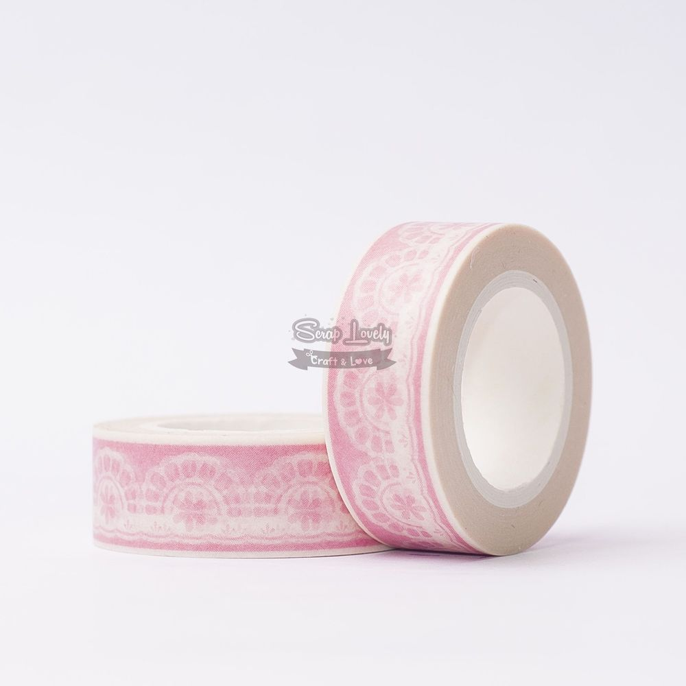 Fita Scrapbook Washi Tape Rosa com Renda Branca 10m - Scrap Lovely
