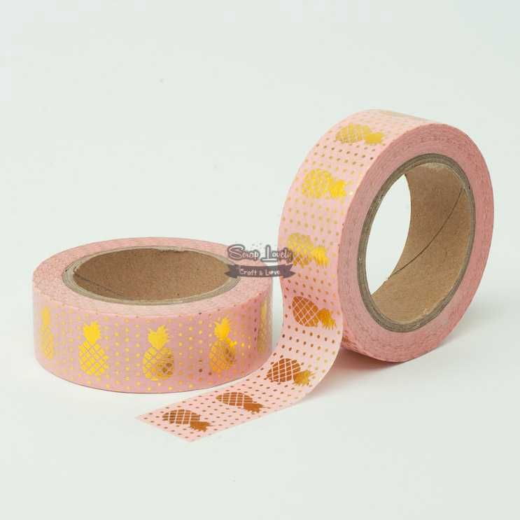 Fita Scrapbook Washi Tape Rosa Foil Abacaxi Dourado 10m - Scrap Lovely