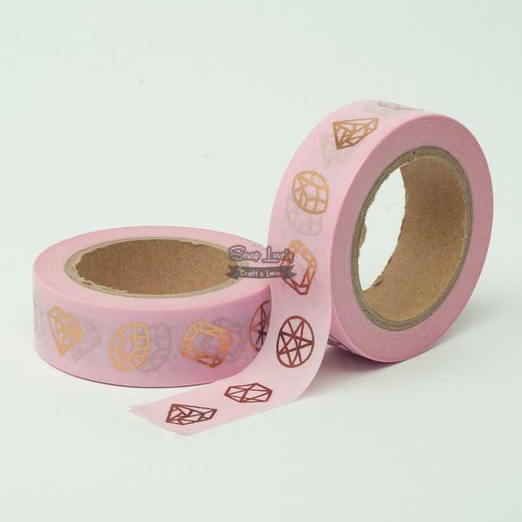 Fita Scrapbook Washi Tape Rosa Foil Diamante Dourado 10m - Scrap Lovely