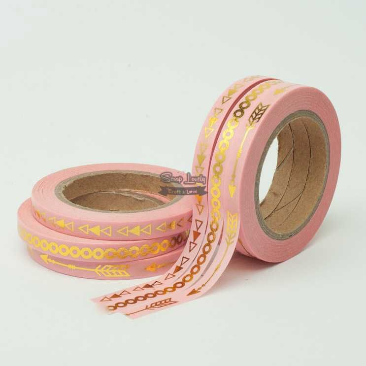 Fita Scrapbook Washi Tape Rosa Foil Flechinhas 10m - Scrap Lovely