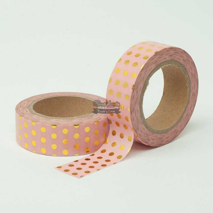 Fita Scrapbook Washi Tape Rosa Foil Poá Dourado 10m - Scrap Lovely