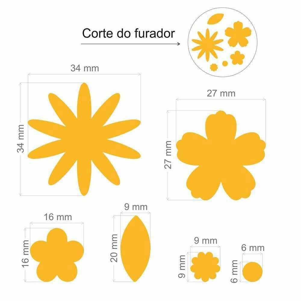 Furador Scrapbook Gigante Plus Multi Flores 9872 (FGPA105) - Toke e Crie