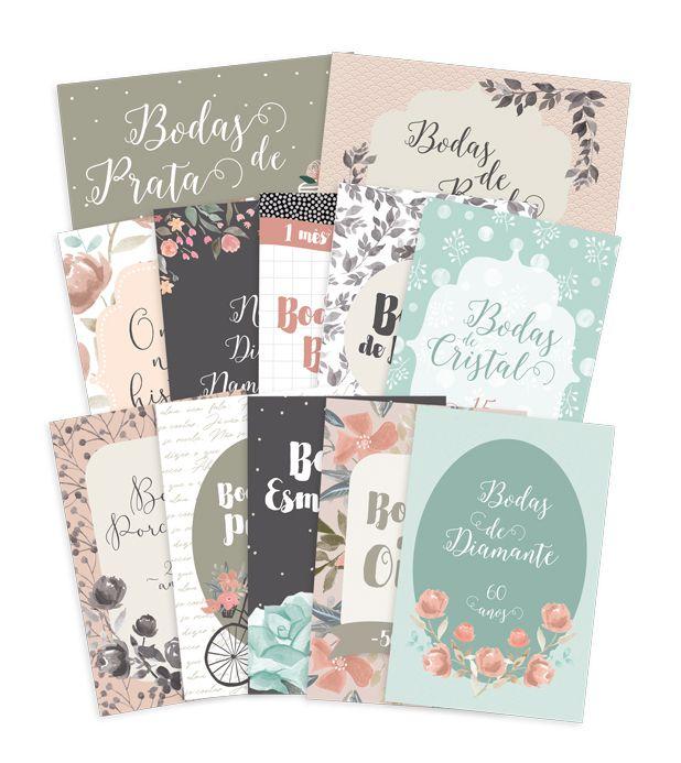 Kit de Cards Felizes Para Sempre Bodas de Amor G - JuJu Scrapbook