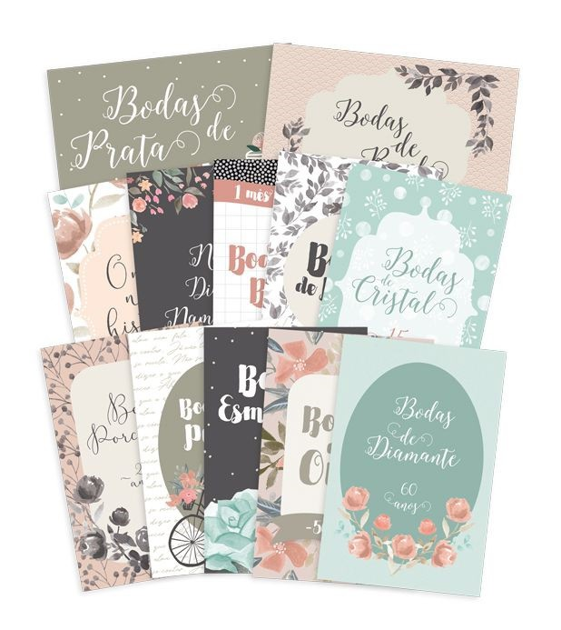 Kit de Cards Felizes Para Sempre Bodas de Amor P - JuJu Scrapbook
