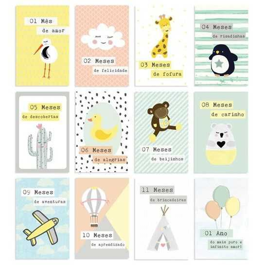 Kit de Cards Meu Coração é Seu Um Ano de Amor Tamanho G - JuJu Scrapbook