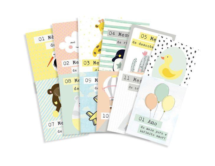 Kit de Cards Meu Coração é Seu Um Ano de Amor Tamanho P - JuJu Scrapbook