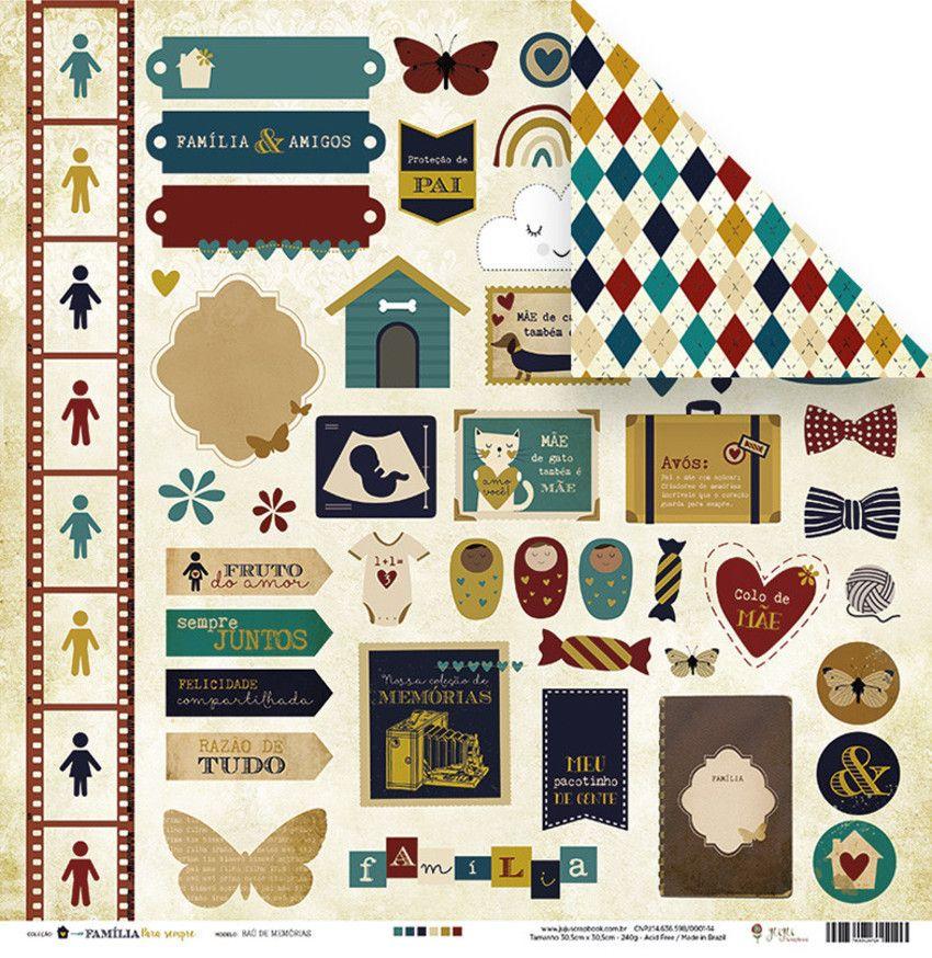 Kit de Papéis Scrapbook Família para Sempre - Juju Scrapbook
