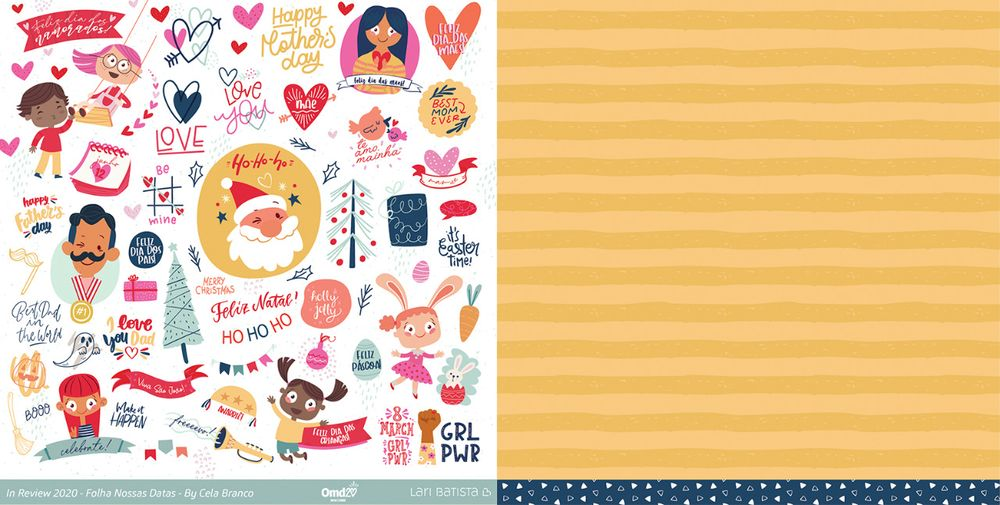 Kit de Papéis Scrapbook In Review 2020 - Lari Batista