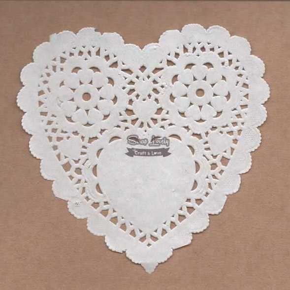 Papel Rendado Coração Branco 14cm x 14cm PRE006 - Art e Montagem