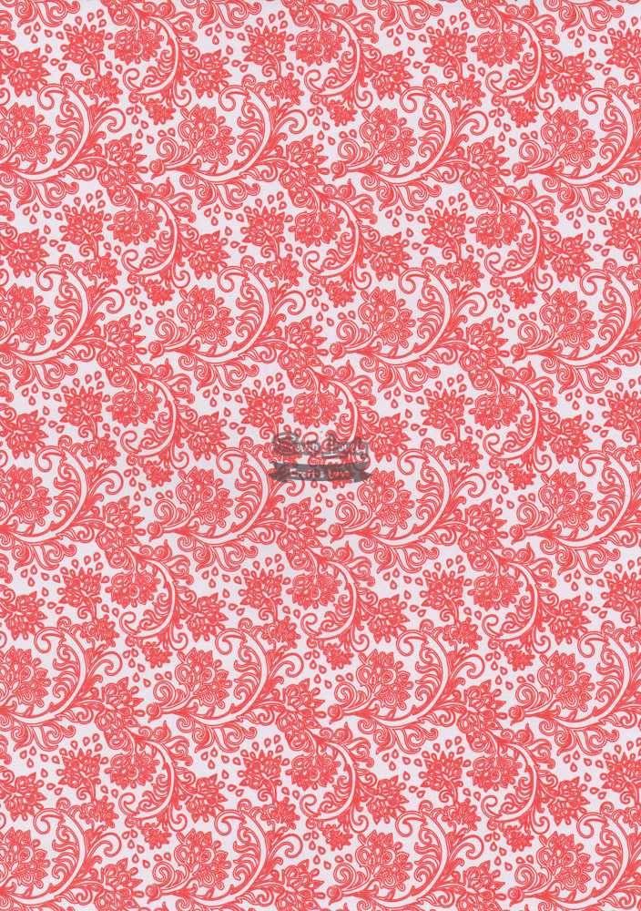 Papel Scrapbook A4 Arabesco Vermelho - Metallik