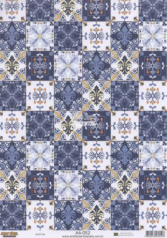 Papel Scrapbook A4 Azulejo Hidráulico Azul - Arte Fácil