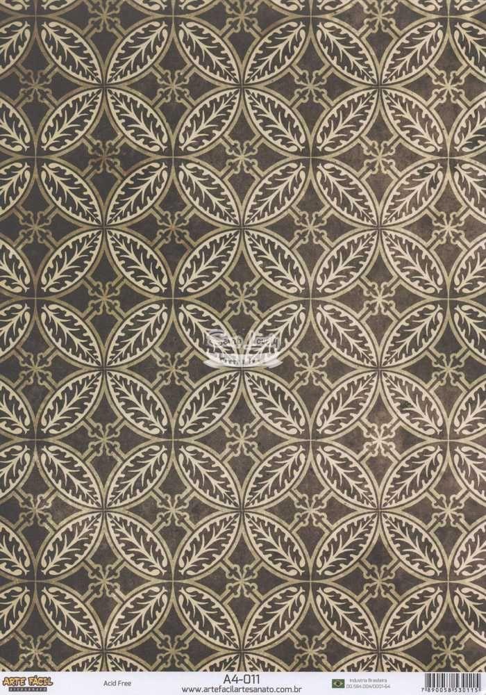 Papel Scrapbook A4 Ornamentos Marrom - Arte Fácil