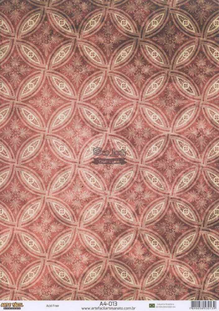 Papel Scrapbook A4 Ornamentos Vermelho - Arte Fácil