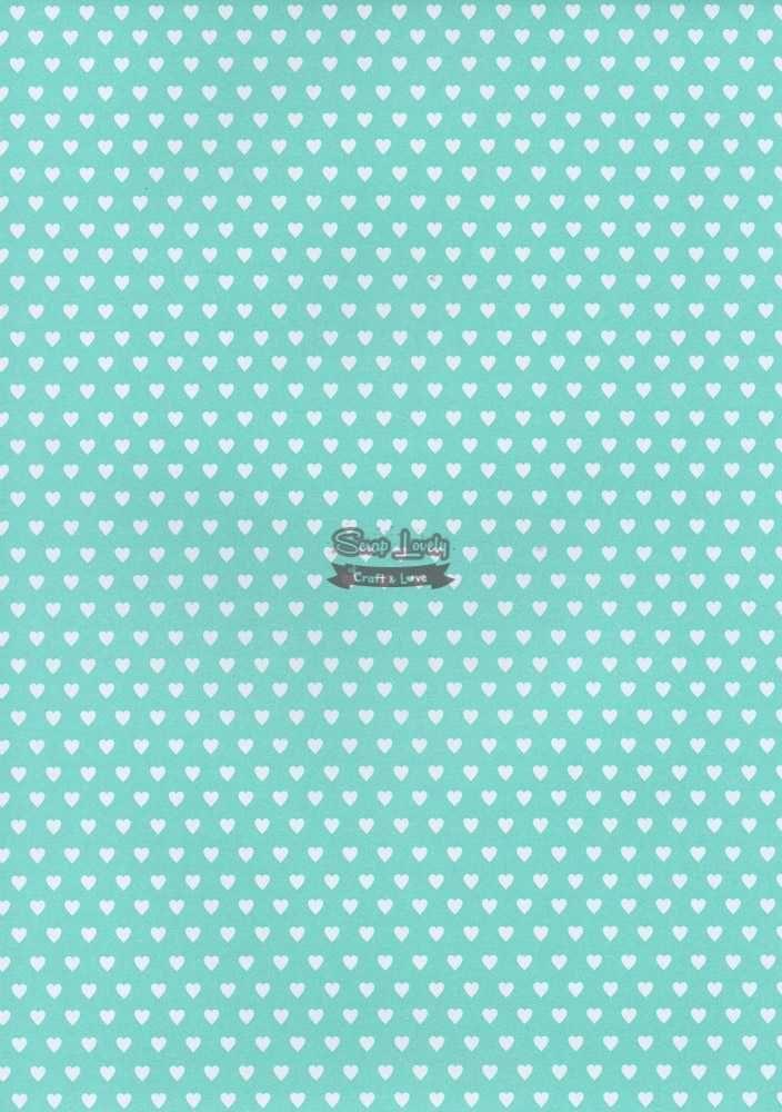 Papel Scrapbook A4 Poá Coração Tiffany - Metallik