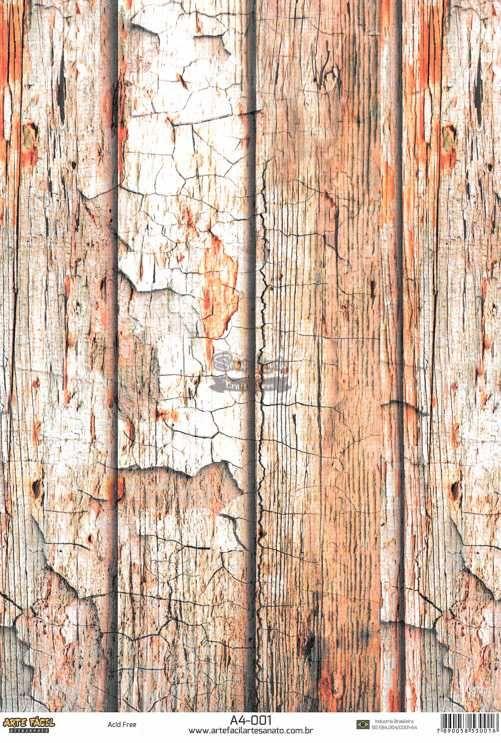 Papel Scrapbook A4 Texturas Madeira 1 - Arte Fácil