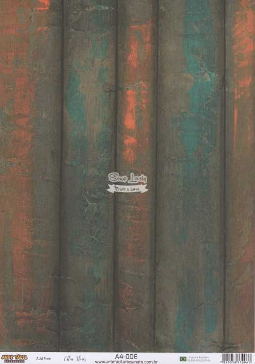 Papel Scrapbook A4 Texturas Madeira 3 - Arte Fácil