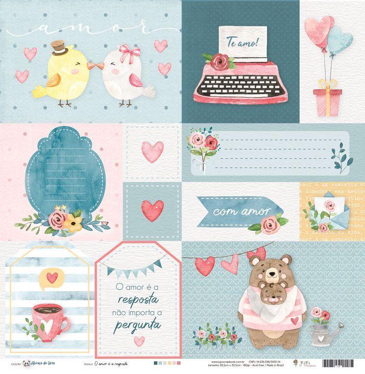 Papel Scrapbook Abraço de Urso O Amor é a Resposta - JuJu Scrapbook