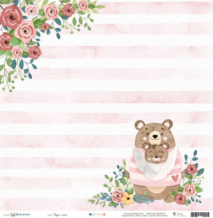Papel Scrapbook Abraço de Urso Regue o Amor - JuJu Scrapbook