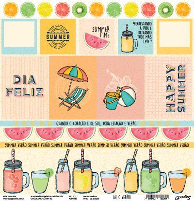 Papel Scrapbook Ah, o Verão! Dia de Calor - Scrap Goodies