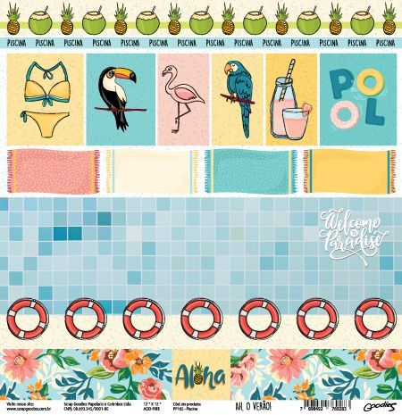 Papel Scrapbook Ah, o Verão! Piscina - Scrap Goodies
