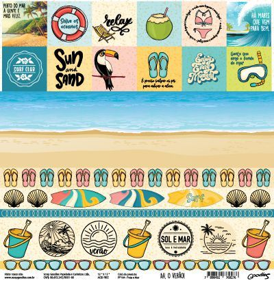 Papel Scrapbook Ah, o Verão! Praia e Mar - Scrap Goodies