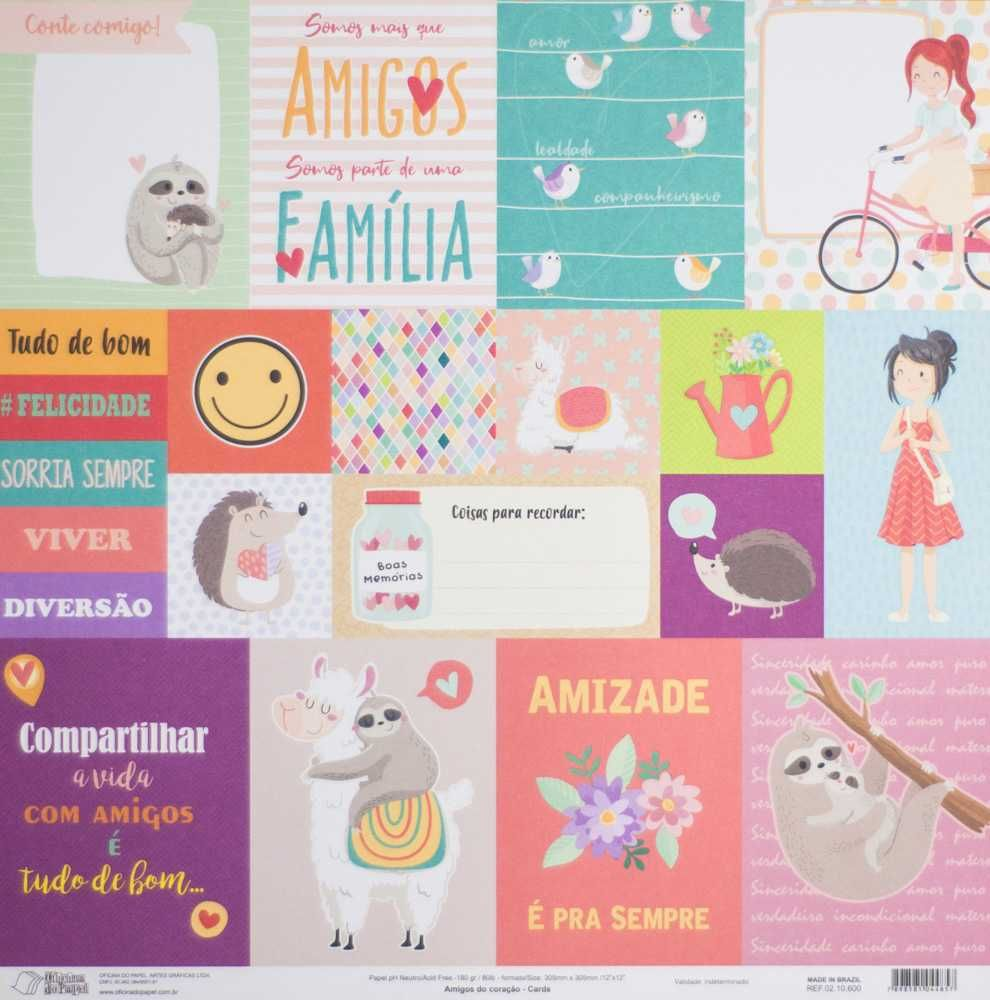 Papel Scrapbook Amigos do Coração Cards - Oficina do Papel