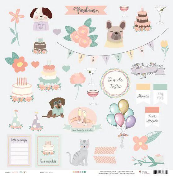 Papel Scrapbook Amizade é Tudo Lista de Desejos - JuJu Scrapbook