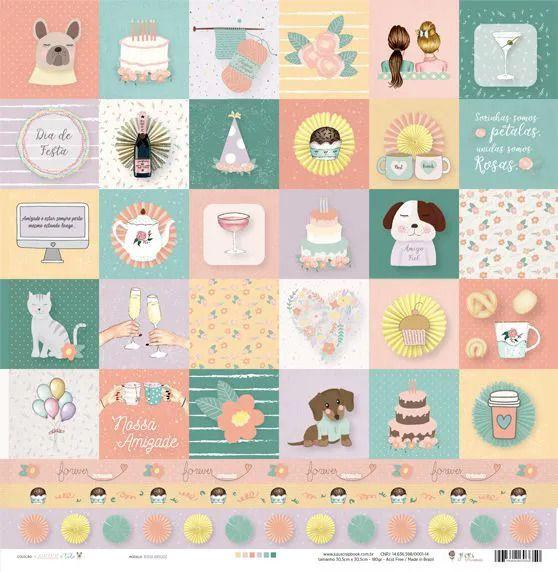 Papel Scrapbook Amizade é Tudo Nossa Amizade - JuJu Scrapbook