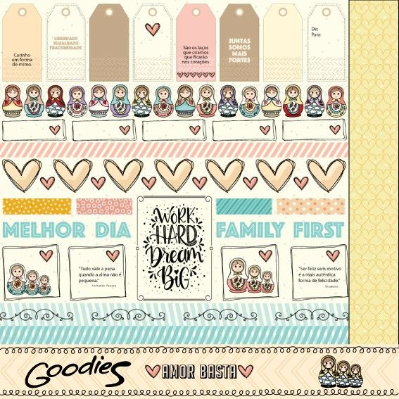 Papel Scrapbook Amor Basta Family First PP195 - Scrap Goodies