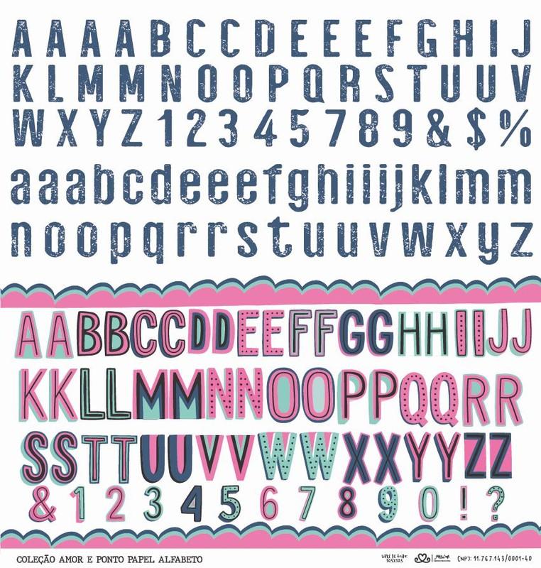 Papel Scrapbook Amor e Ponto Alfabeto - Atelie Craft