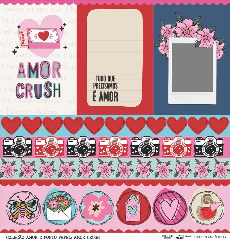 Papel Scrapbook Amor e Ponto Amor Crush - Atelie Craft