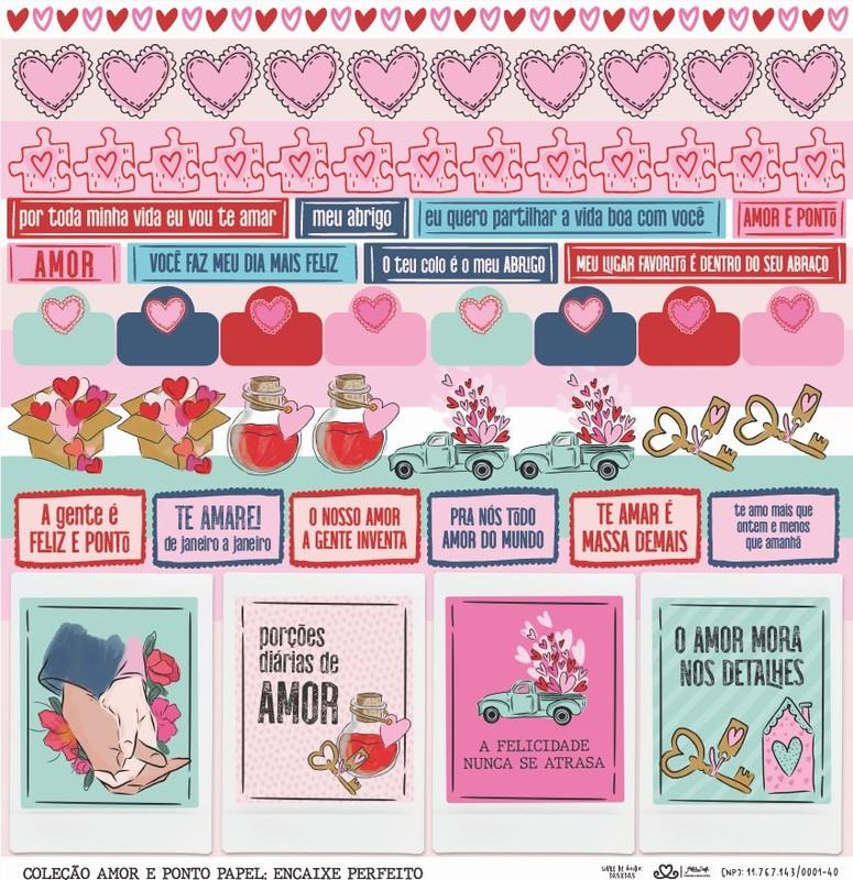 Papel Scrapbook Amor e Ponto Encaixe Perfeito - Atelie Craft