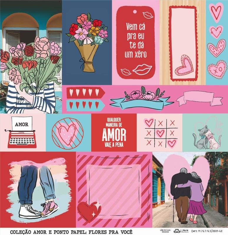 Papel Scrapbook Amor e Ponto Flores pra Você - Atelie Craft