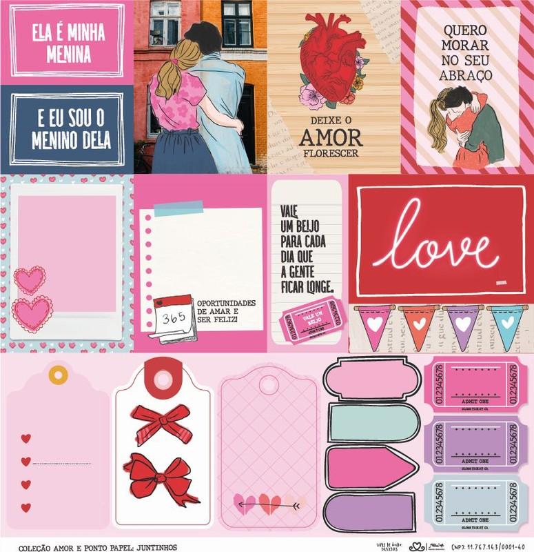 Papel Scrapbook Amor e Ponto Juntinhos - Atelie Craft