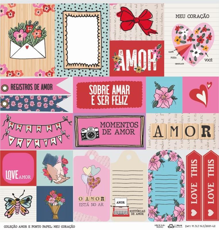 Papel Scrapbook Amor e Ponto Meu Coração - Atelie Craft