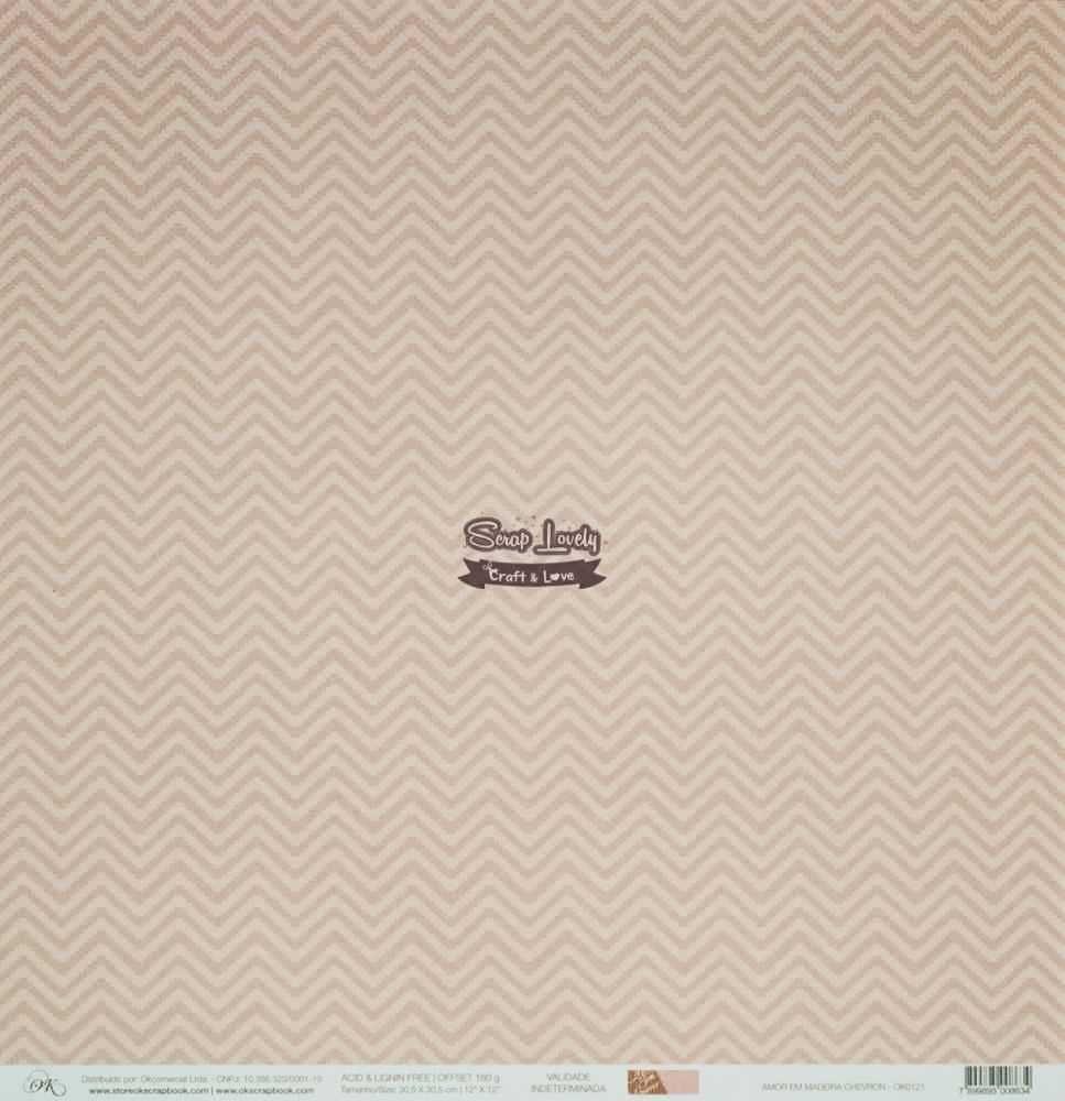 Papel Scrapbook Amor em Madeira Chevron - OK Scrapbook