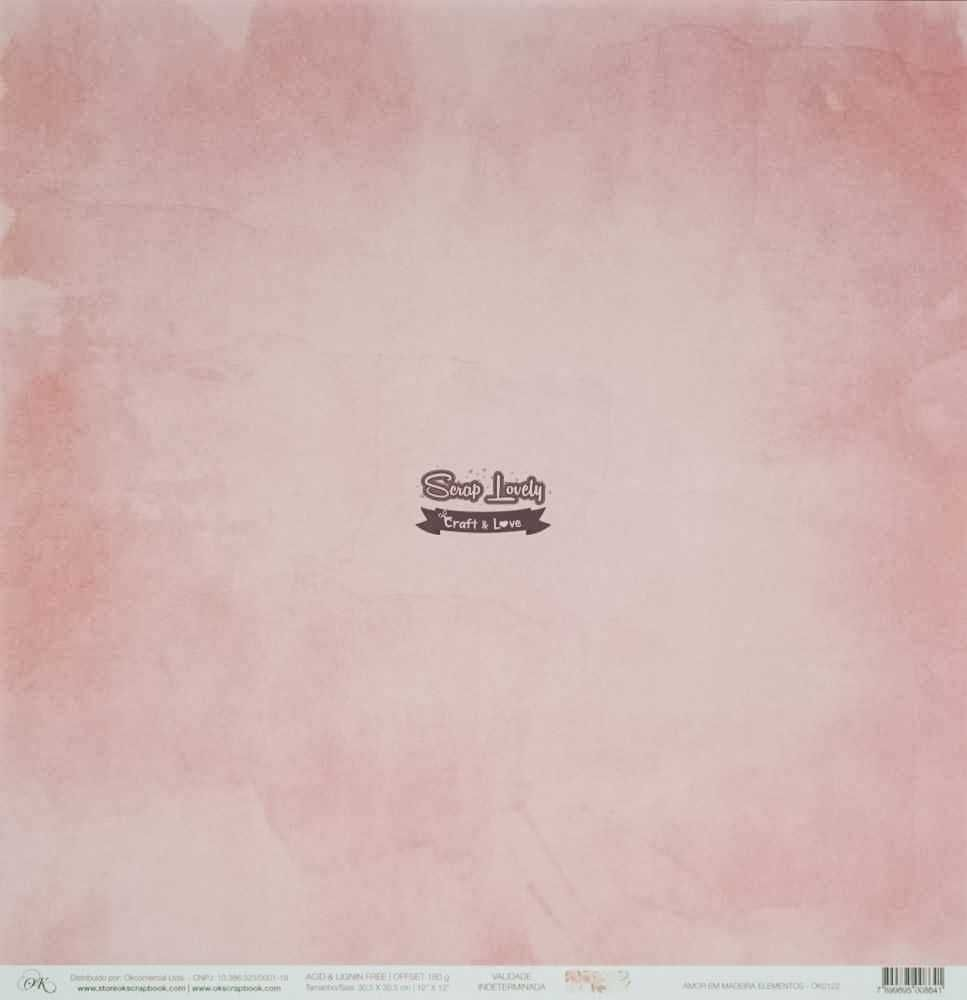 Papel Scrapbook Amor em Madeira Elementos - OK Scrapbook