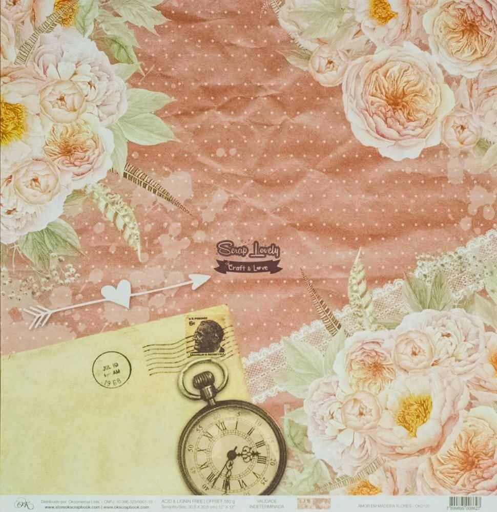 Papel Scrapbook Amor em Madeira Flores - OK Scrapbook