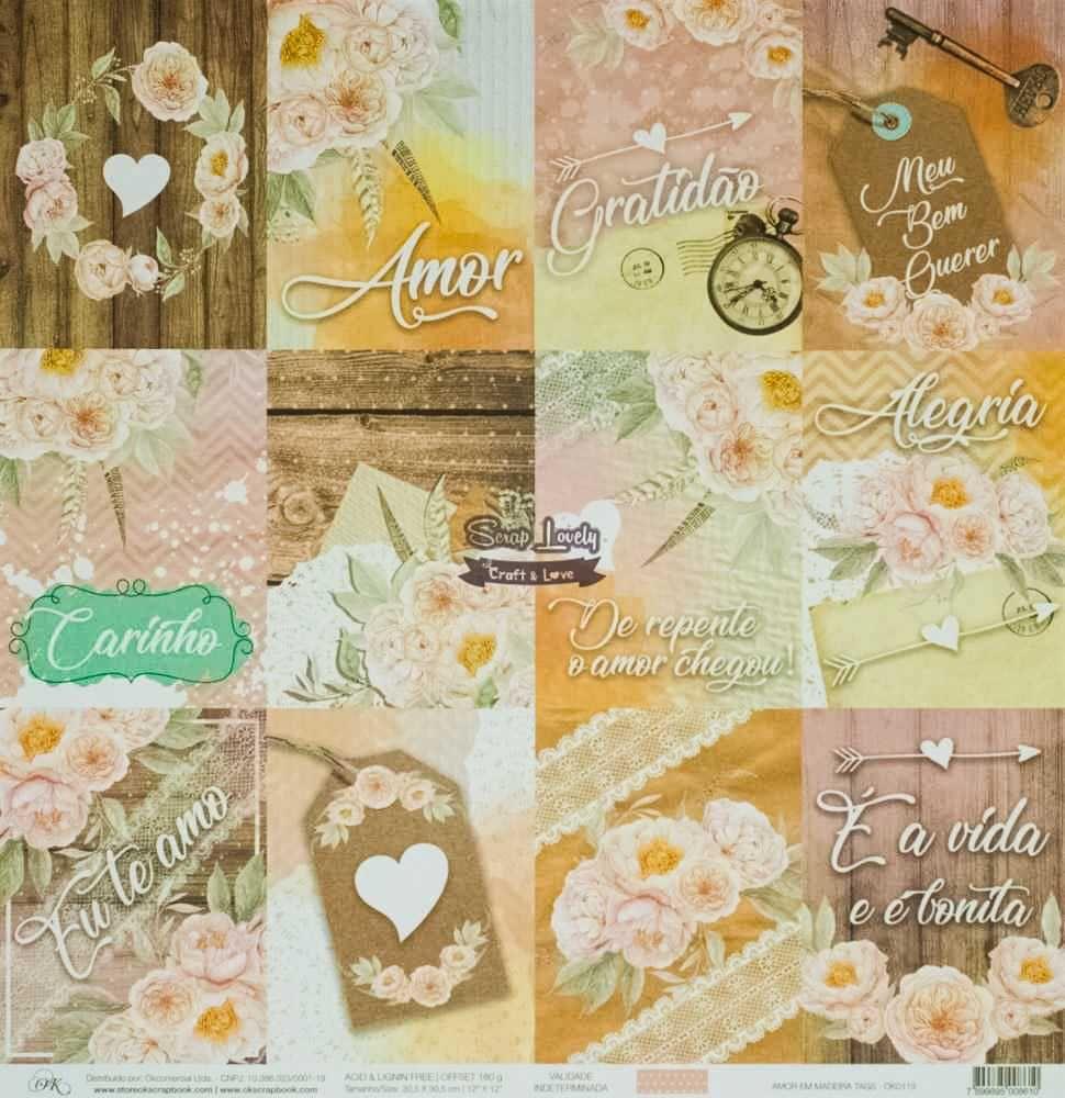 Papel Scrapbook Amor em Madeira Tags - OK Scrapbook
