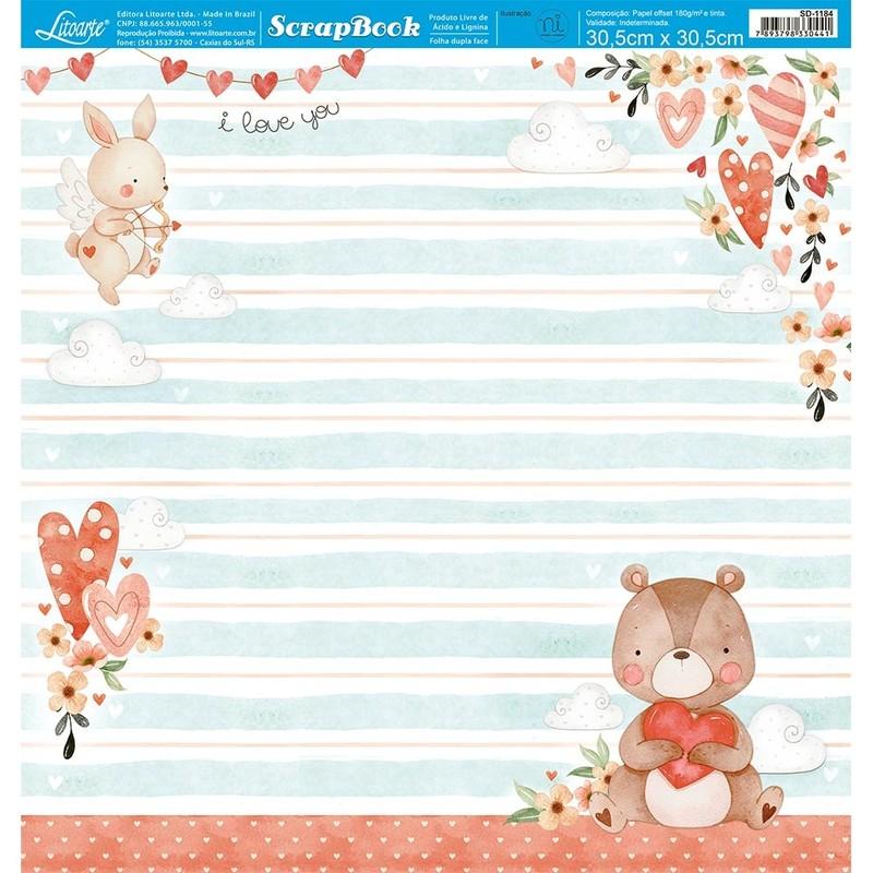 Papel Scrapbook Amor SD-1184 - Litoarte