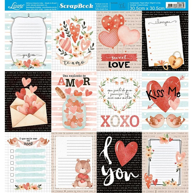 Papel Scrapbook Amor SD-1186 - Litoarte