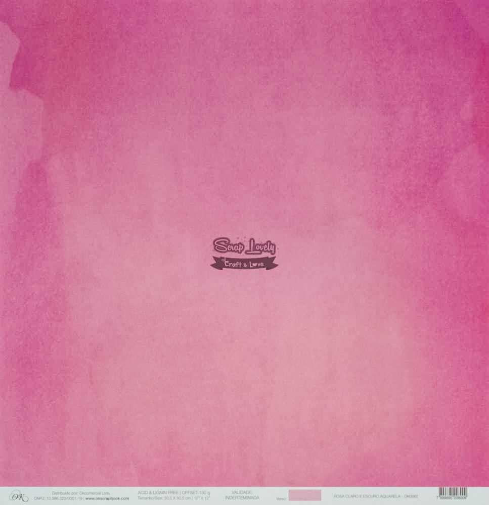 Papel Scrapbook Aquarela Rosa Claro e Escuro Aquarela - OK Scrapbook
