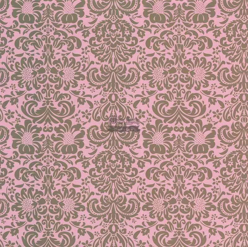 Papel Scrapbook Arabesco 02 Rosa e Marrom - Metallik