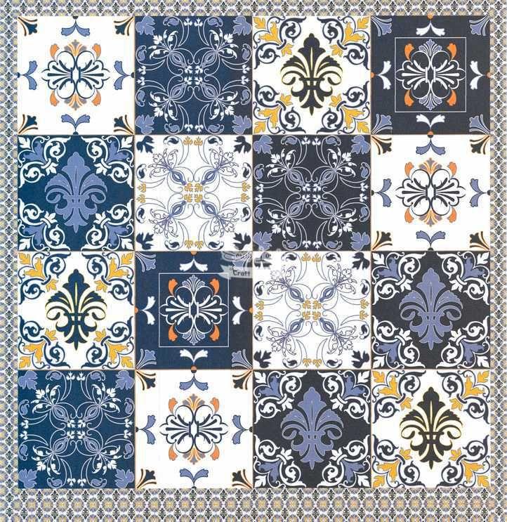 Papel Scrapbook Azulejo Hidráulico 2 - Arte Fácil